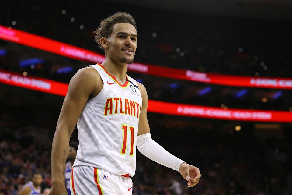 PHILADELPHIA, PA - FEBRUARY 24: Trae Young #11 of the Atlanta Hawks in action against the Philadelphia 76ers during an NBA basketball game at Wells Fargo Center on February 24, 2020 in Philadelphia, Pennsylvania. The Sixers defeated the Hawks 129-112. (Photo by Rich Schultz/Getty Images)