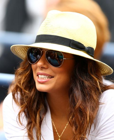 Actress Eva Longoria looks on as Serena Williams of the United States plays against Andrea Hlavackova of Czech Republic during their women's singles fourth round match on Day Eight of the 2012 US Open at USTA Billie Jean King National Tennis Center on September 3, 2012 in the Flushing neighborhood of the Queens borough of New York City. (Photo by Al Bello/Getty Images)