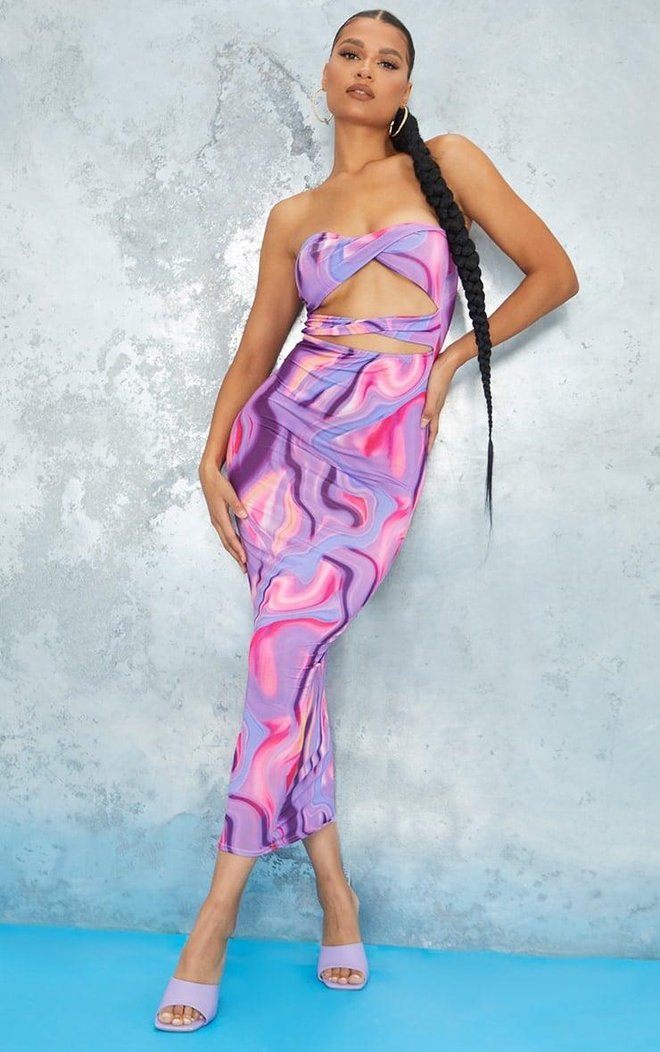 <p><span>PrettyLittleThing Purple Abstract Print Slinky Bandeau Cut Out Midaxi Dress</span> ($48)</p>