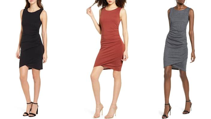 This ruched body-con tank dress from Leith is available in three different colours and is majorly marked down right now. (Image via Nordstrom)