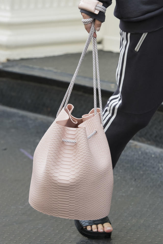 <p><i>Pastel-pink textured bucket bag from the SS18 Baja East collection. (Photo: ImaxTree) </i></p>