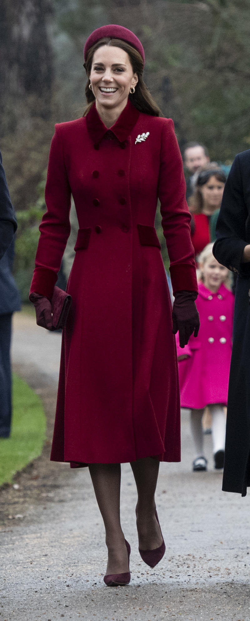 KING'S LYNN, ENGLAND - DECEMBER 25: Catherine, Duchess of Cambridge attends Christmas Day Church service at Church of St Mary Magdalene on the Sandringham estate on December 25, 2018 in King's Lynn, England. (Photo by UK Press Pool/UK Press via Getty Images)