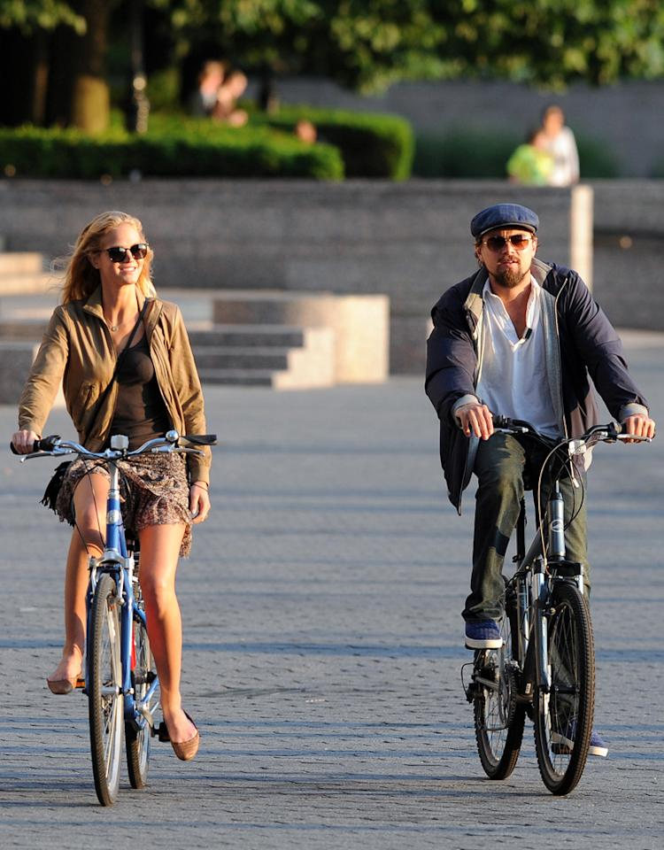 Leonardo DiCaprio and girlfriend Erin Heatherton ride bicycles in downtown Manhattan after having dinner.