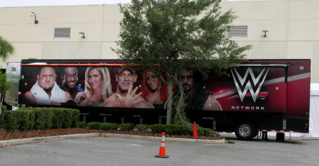 The WWE has continued to film in Florida after the governor deemed it 'essential.' (AP Photo/John Raoux)