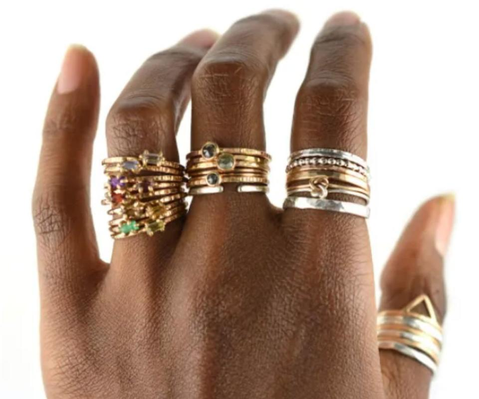 "Aquarian Thoughts is a New Jersey-based Etsy shop that carries delicate handcrafted artisan jewelry with a variety of gemstones and metals. Find these <a href=""https://fave.co/3gTkcAg"" target=""_blank"" rel=""noopener noreferrer"">stacking rings starting at $36</a> at <a href=""https://fave.co/3gUC6CU"" target=""_blank"" rel=""noopener noreferrer"">Aquarian Thoughts on Etsy</a>."