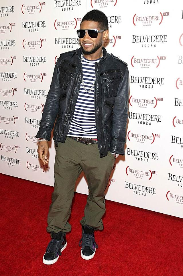 """Usher performed at the soiree, where he was also introduced as the new face of Belvedere vodka. """"I am excited to announce that I have partnered with Belvedere Vodka and Product RED to raise proceeds for the Global Fund,"""" said the singer. """"50% of the profit from sales of Belvedere RED will go direct to the Global Fund to Fight Aids, Tuberculosis, and Malaria. Now that's something to raise your voice about!"""" Robert Benson/<a href=""""http://www.gettyimages.com/"""" target=""""new"""">GettyImages.com</a> - February 10, 2011"""
