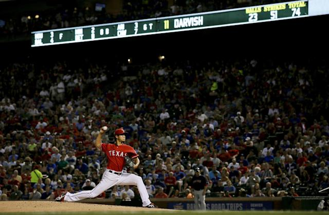 Texas Rangers' Yu Darvish of Japan works against the Boston Red Sox in the sixth inning of a baseball game, Friday, May 9, 2014, in Arlington, Texas. (AP Photo/Tony Gutierrez)