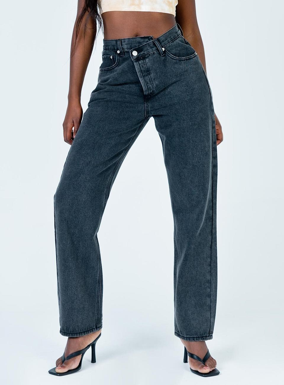 Holly Asymmetric Straight Leg Jean. Image via Princess Polly.