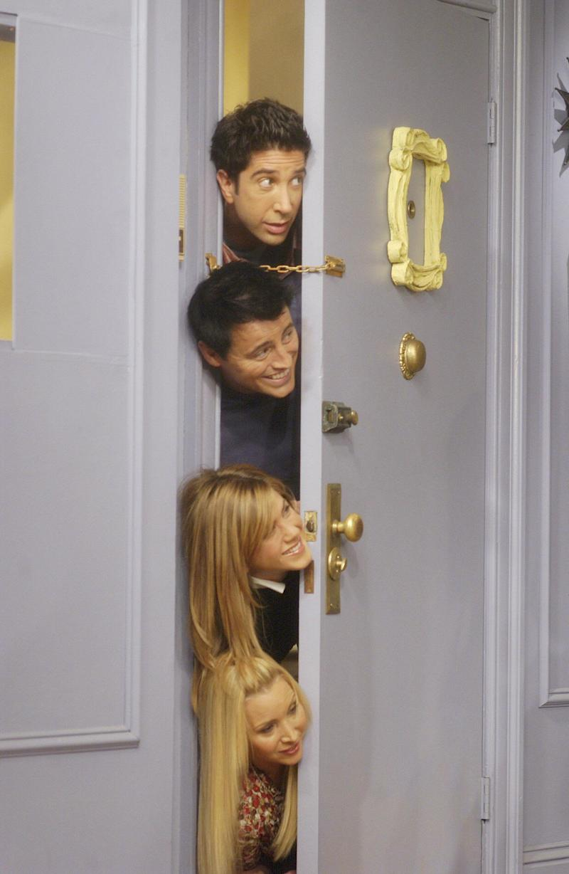 "David Schwimmer as Ross Geller, Matt LeBlanc as Joey Tribbiani, Jennifer Aniston as Rachel Green, Lisa Kudrow as Phoebe Buffay -- (Photo by: NBCU Photo Bank/NBCUniversal via Getty Images)FRIENDS -- ""The One With The Late Thanksgiving"" Episode 1008 -- Pictured: (top-bottom) David Schwimmer as Ross Geller, Matt LeBlanc as Joey Tribbiani, Jennifer Aniston as Rachel Green, Lisa Kudrow as Phoebe Buffay -- (Photo by: NBCU Photo Bank/NBCUniversal via Getty Images)"