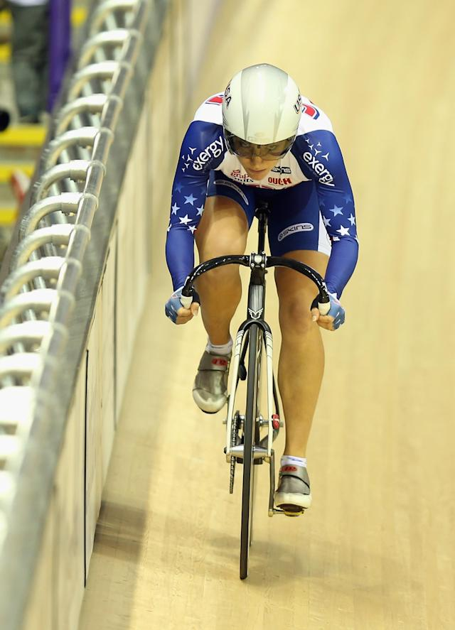 GLASGOW, SCOTLAND - NOVEMBER 17: Cari Higgins of the USA in action during the Women's Omnium Flying Lap on day two of the UCI Track Cycling World Cup at Sir Chris Hoy Velodrome on November 17, 2012 in Glasgow, Scotland. (Photo by Bryn Lennon/Getty Images)