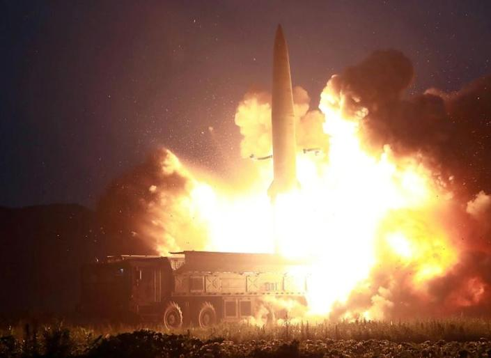 Kim Jong Un's government said its recent missile tests were a 'solemn warning' over the US-South Korea military games that began this week (AFP Photo/KCNA VIA KNS)