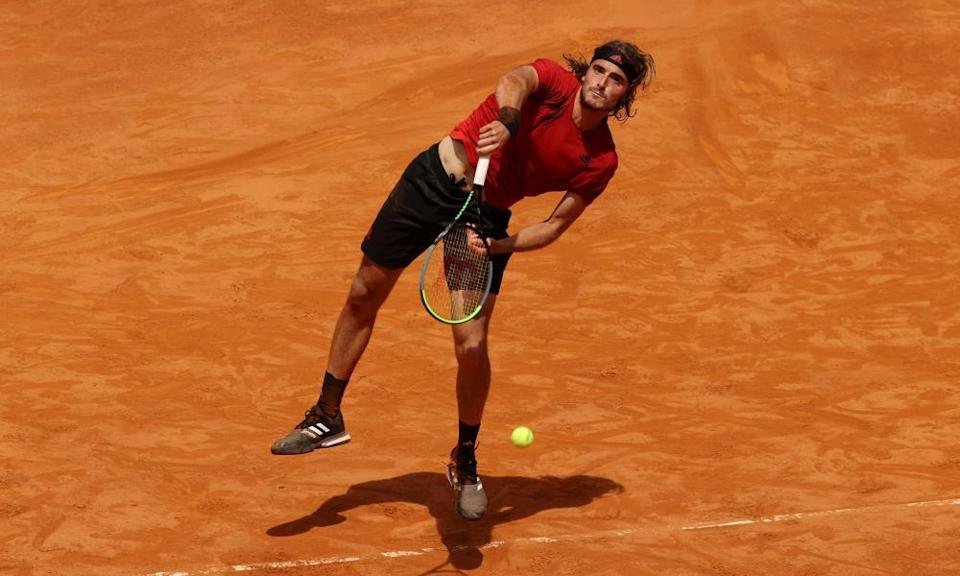 Stefanos Tsitsipas in action on the clay court