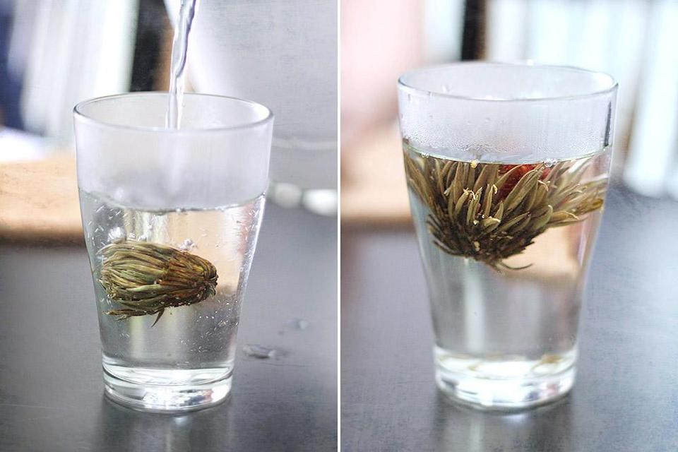Flower teas can be a sight to behold: from a dried up bud to petals magically unfolding.