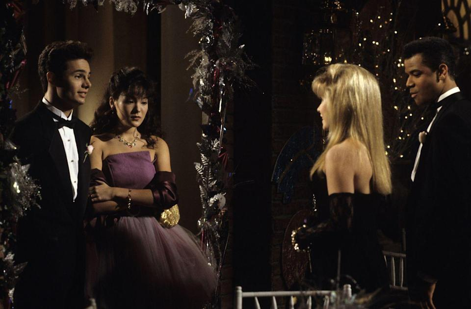 <p>Of course a major event like prom was bound to result in tons of drama on a soap opera like <em>All My Children</em>. But An Li Chen still looked great in a strapless purple princess gown.</p>