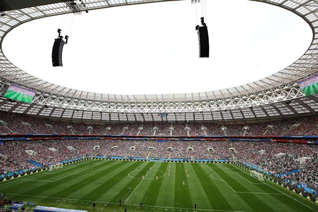 <p>Full house: The Luzhniki Stadium had barely a spare seat as kick off approached. (Getty) </p>