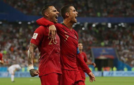 Soccer Football - World Cup - Group B - Iran vs Portugal - Mordovia Arena, Saransk, Russia - June 25, 2018 Portugal's Ricardo Quaresma celebrates scoring their first goal with Cristiano Ronaldo REUTERS/Ricardo Moraes