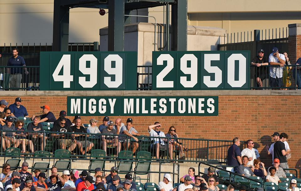 A general view of the board to track the home runs and hits of Miguel Cabrera.