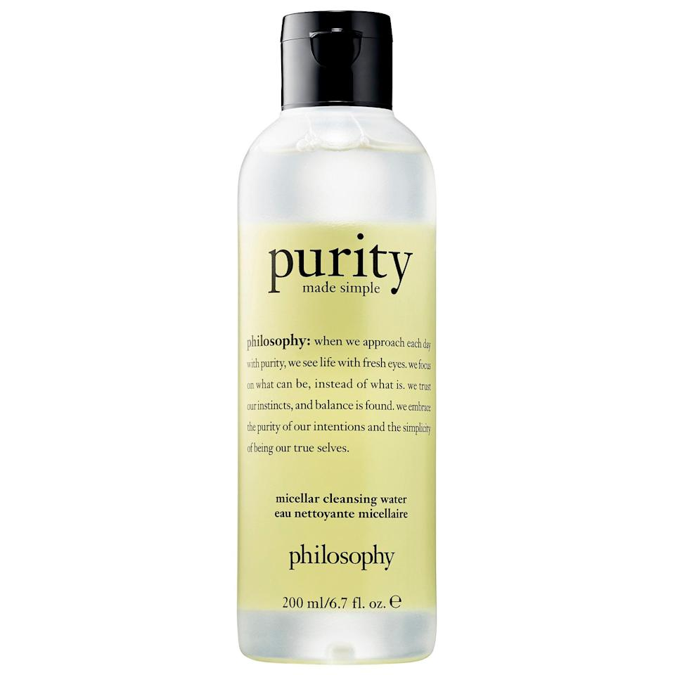 "<p><a href=""https://www.popsugar.com/buy/Philosophy-Purity-Made-Simple-Micellar-Cleansing-Water-586904?p_name=Philosophy%20Purity%20Made%20Simple%20Micellar%20Cleansing%20Water&retailer=sephora.com&pid=586904&price=12&evar1=bella%3Aus&evar9=47595992&evar98=https%3A%2F%2Fwww.popsugar.com%2Fphoto-gallery%2F47595992%2Fimage%2F47596006%2FPhilosophy-Purity-Made-Simple-Micellar-Cleansing-Water&list1=sephora%2Ccleanser%2Cbeauty%20shopping%2Cskin%20care&prop13=api&pdata=1"" class=""link rapid-noclick-resp"" rel=""nofollow noopener"" target=""_blank"" data-ylk=""slk:Philosophy Purity Made Simple Micellar Cleansing Water"">Philosophy Purity Made Simple Micellar Cleansing Water</a> ($12-$22) rinses away makeup, dirt, and oil, and leaves skin feeling refreshed with no added stickiness.<br><br><em>Love all things beauty? Can't get enough products? Come join our Facebook Group, <a href=""https://www.facebook.com/groups/389401751481325/"" class=""link rapid-noclick-resp"" rel=""nofollow noopener"" target=""_blank"" data-ylk=""slk:Real Reviews With POPSUGAR Beauty""><span class=""s1"">Real Reviews With POPSUGAR Beauty</span></a> There are lots of fun conversations happening there, as well as all the product recommendations you could ask for - not just from us, but also community members, too.</em></p>"