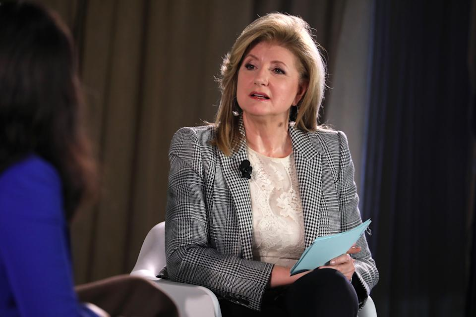 NEW YORK, NEW YORK - OCTOBER 17: Arianna Huffington speaks onstage during the TIME 100 Health Summit at Pier 17 on October 17, 2019 in New York City. (Photo by Brian Ach/Getty Images for TIME 100 Health Summit )
