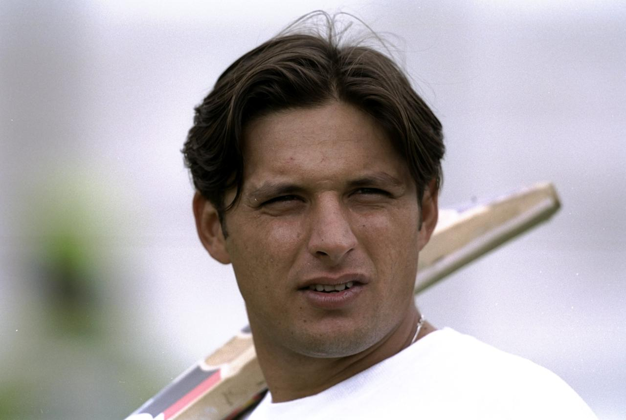 Jun 1999:  Shahid Afridi of Pakistan in action at net practice during the 1999 Cricket World Cup held in London, England. \ Mandatory Credit: Clive Mason /Allsport