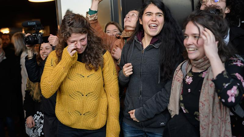 Climate activists, pictured here celebrating after the judgment of acquittal.