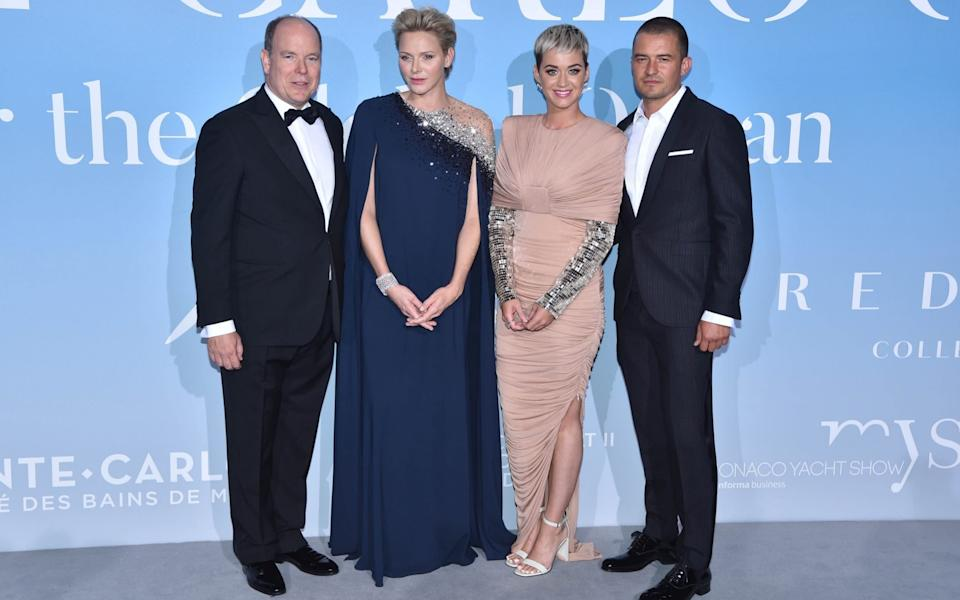 Prince Albert, Princess Charlene, Katy Perry and Orlando Bloom attend the Monte-Carlo Gala for the Global Ocean 2018 - Corbis
