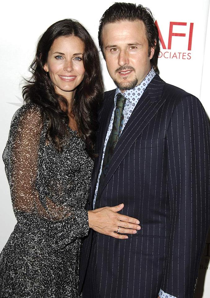 "Courteney Cox and hubby David Arquette fell in love while filming the ""Scream"" trilogy and have been together ever since. Steve Granitz/<a href=""http://www.wireimage.com"" target=""new"">WireImage.com</a> - May 10, 2006"