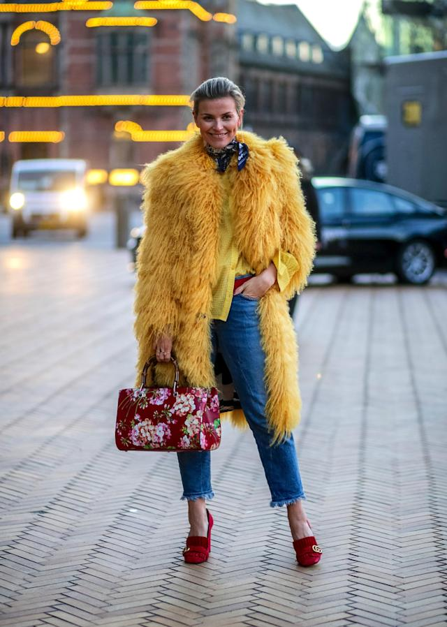 Channelling Big Bird never looked as chic as it did outside Copenhagen Fashion Week in 2016.  (Getty)