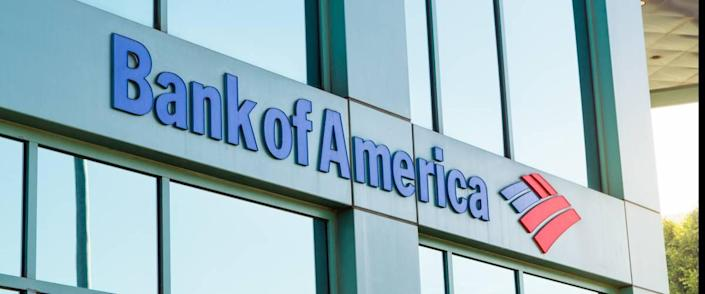 The logo of Bank of America in modern office building in Beverly Hills.