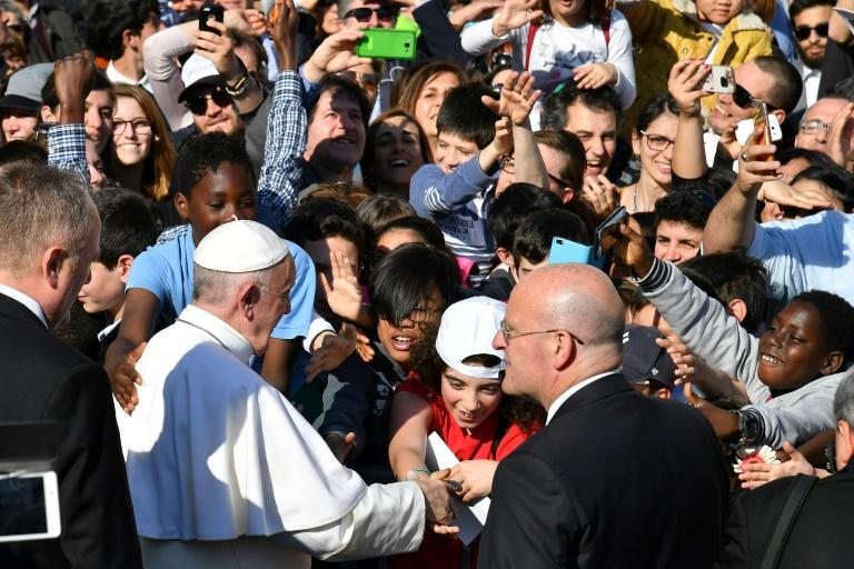 Pope Francis was greeted by an enthusiastic crowd