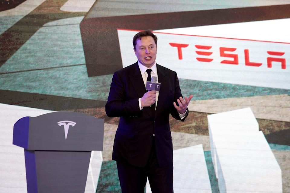 Tesla Inc CEO Elon Musk speaks at an opening ceremony for Tesla China-made Model Y program in Shanghai, China January 7, 2020. REUTERS/Aly Song
