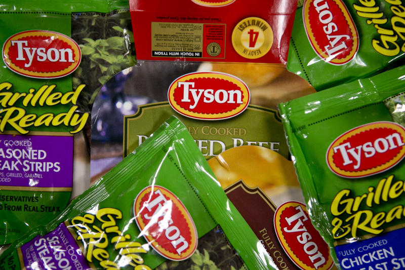 Packages of Tyson Foods processed meat products.  (Bloomberg via Getty Images)