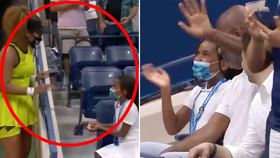 Naomi Osaka had a lovely post-match moment with a young fan at the US Open. Pic: US Open Tennis