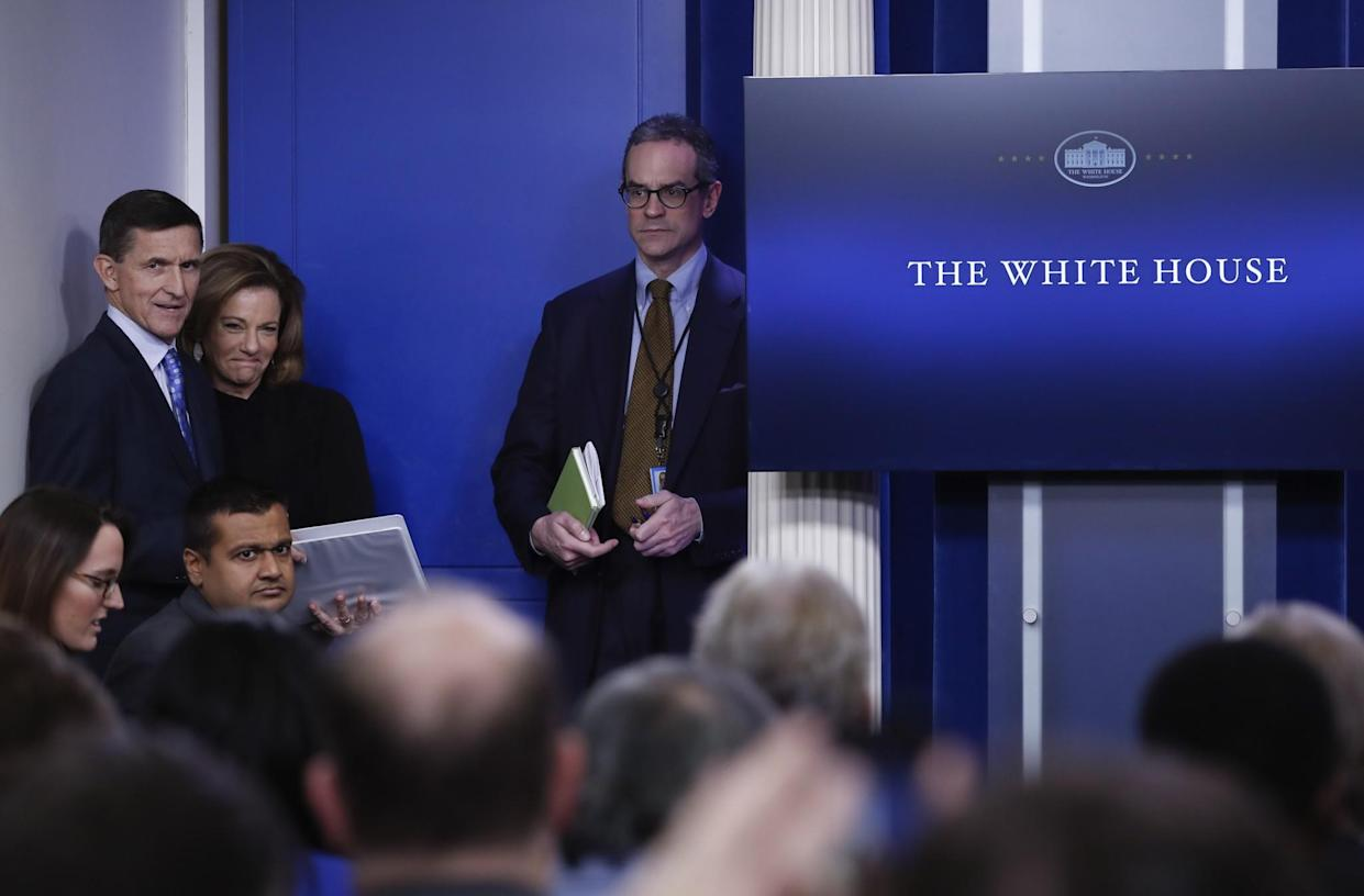 Michael Anton, center, at a White House news briefing Feb. 1. At left are Michael Flynn and K.T. McFarland. (Photo: Carolyn Kaster/AP)