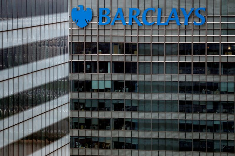 FILE PHOTO: FILE PHOTO: A Barclays bank building is seen at Canary Wharf in London