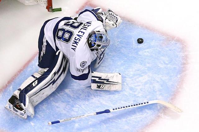 Andrei Vasilevskiy of the Tampa Bay Lightning makes a save against the Chicago Blackhawks during Game Four of the 2015 NHL Stanley Cup Final at the United Center on June 10, 2015 in Chicago, Illinois (AFP Photo/Bruce Bennett)
