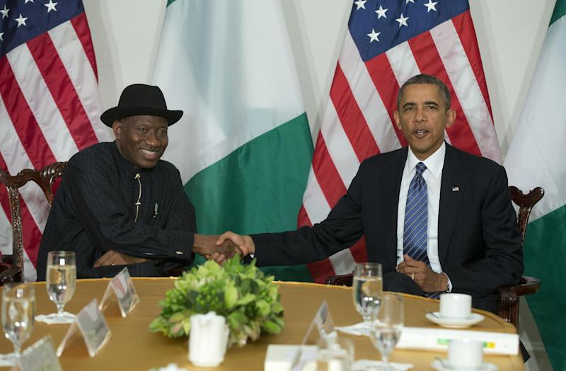 President Barack Obama shakes hands with Nigerian President Goodluck Jonathan in New York, Monday, Sept. 23, 2013. Obama is in New York and is scheduled to address the United Nations General Assembly tomorrow. (AP Photo/Pablo Martinez Monsivais)
