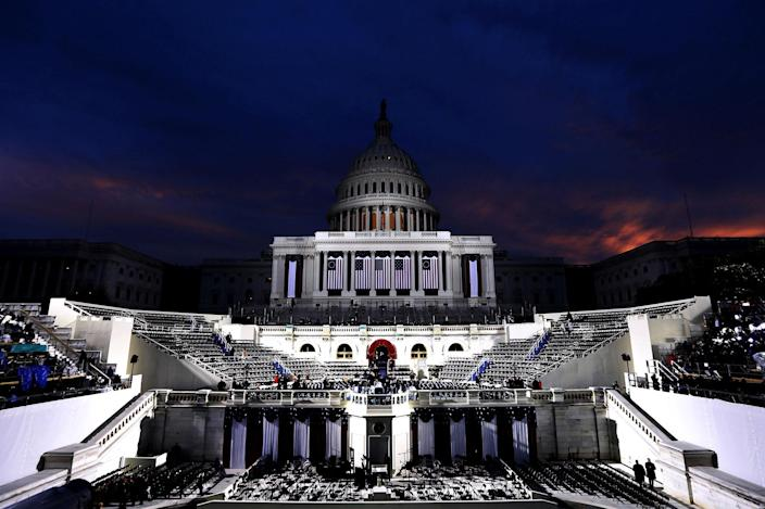 <p>Preparations are made for the iinauguration on the West Front of the U.S. Capitol on January 20, 2017 in Washington, DC. (Photo: Alex Wong/Getty Images) </p>