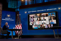 President-elect Joe Biden speaks during a virtual meeting with members of his national security and foreign policy agency review teams at The Queen theater, Monday, Dec. 28, 2020, in Wilmington, Del. (AP Photo/Andrew Harnik)
