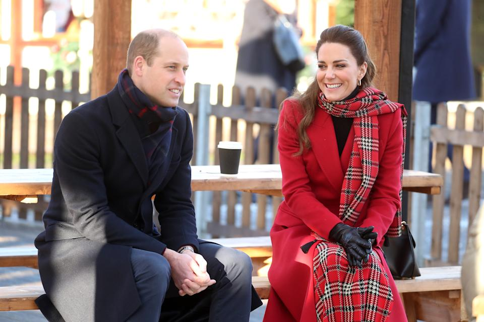 CARDIFF, WALES - DECEMBER 08: Catherine, Duchess of Cambridge and Prince William, Duke of Cambridge visits Cardiff Castle on December 08, 2020 in Cardiff, Wales. The Duke And Duchess of Cambridge are undertaking a short tour of the UK ahead of the Christmas holidays to pay tribute to the inspiring work of individuals, organizations and initiatives across the country that have gone above and beyond to support their local communities this year. (Photo by Chris Jackson/Getty Images)