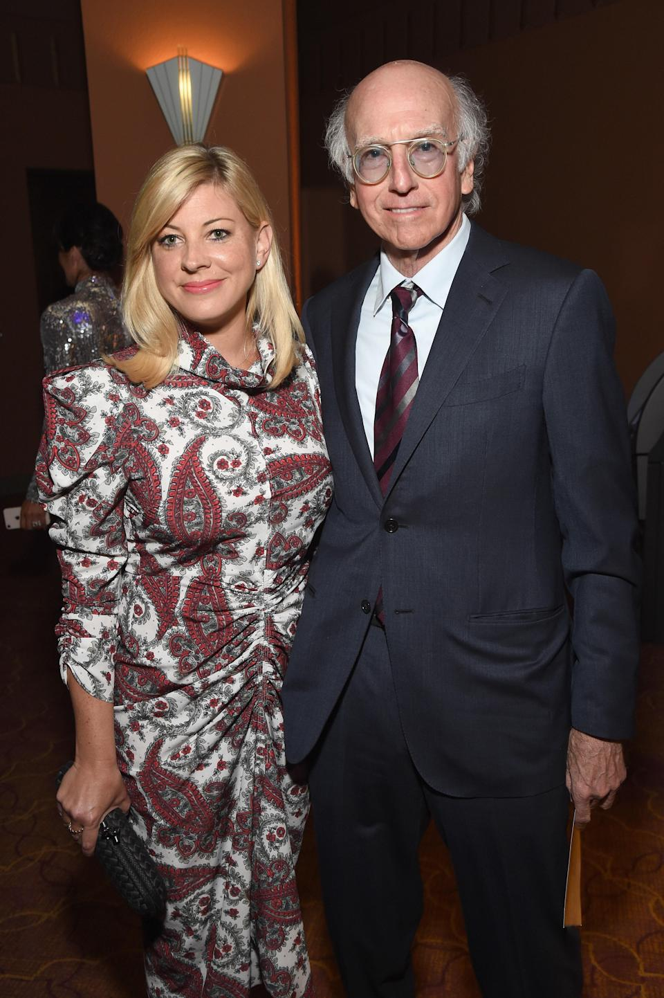"""The <em>Curb Your Enthusiasm</em> star married Ashley Underwood on October 7 in California, <a href=""""https://people.com/tv/larry-david-marries-ashley-underwood/"""" rel=""""nofollow noopener"""" target=""""_blank"""" data-ylk=""""slk:according to People"""" class=""""link rapid-noclick-resp"""">according to <em>People</em></a>. The couple reportedly met through Sacha Baron Cohen and Isla Fisher back in 2017. """"We were seated next to each other, I think with that in mind,"""" David previously <a href=""""https://www.nytimes.com/2020/04/04/style/larry-david-curb-your-enthusiasm-coronavirus-psa.html"""" rel=""""nofollow noopener"""" target=""""_blank"""" data-ylk=""""slk:told the New York Times"""" class=""""link rapid-noclick-resp"""">told the <em>New York Times</em></a>. """"Much to her surprise, I left before dessert. I was doing so well, banter-wise, I didn't want to risk staying too long and blowing the good impression."""""""