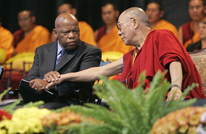 Rep. John Lewis and The Dalai Lama during a public speech in Centennial Olympic Park in Atlanta on Oct.22, 2007.  (Photo: John Amis/AP)