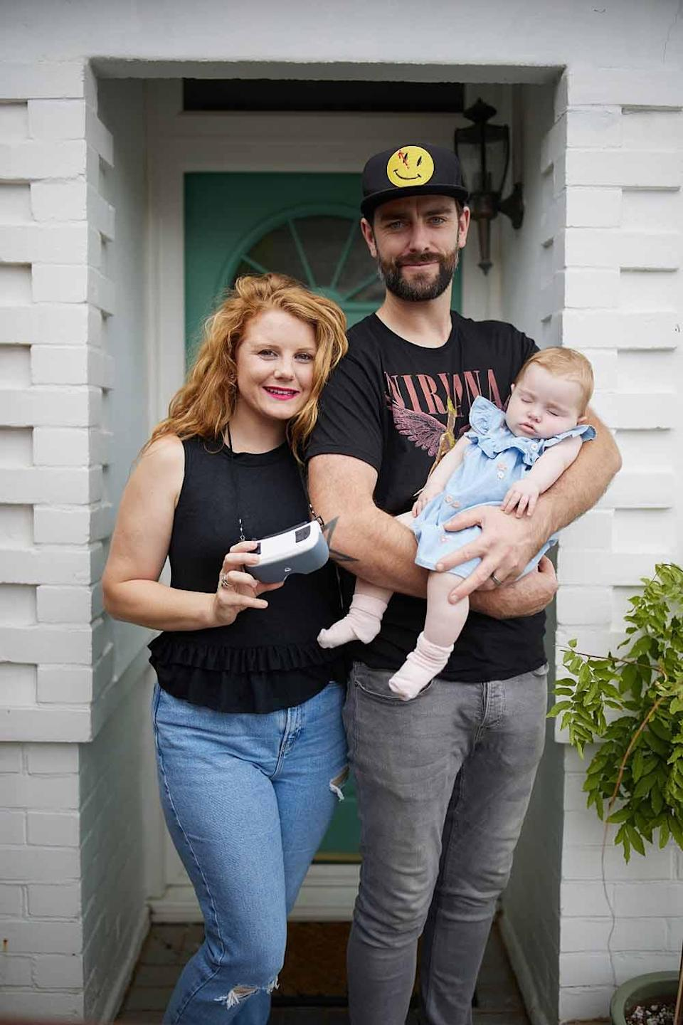 Kayley pictured here with Ryan and Ivy tried the miracle specs in August this year (PA Real Life/Ian Wallman).