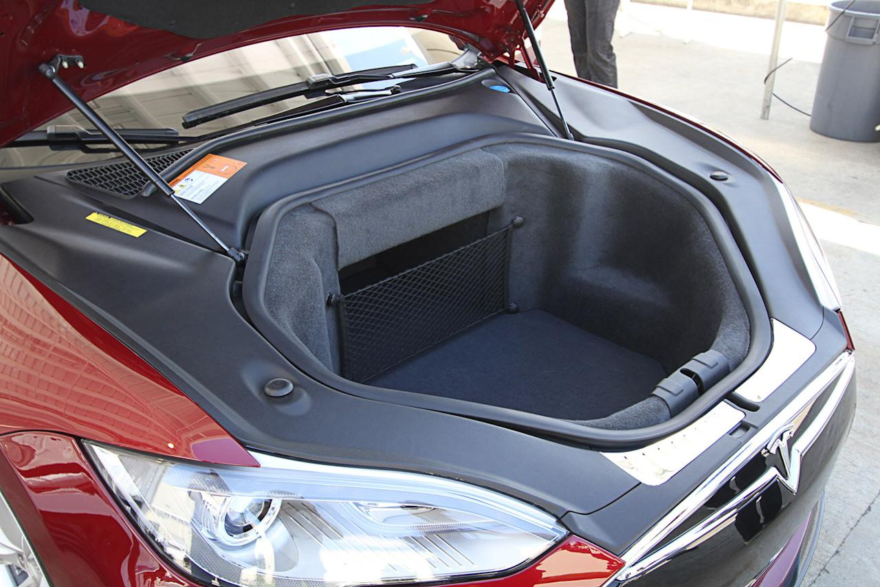 Under the hood of the Tesla Model S - no engine, but space for your groceries.