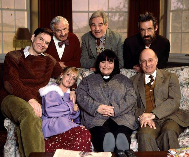 Trevor (back, centre) with The Vicar Of Dibley cast (Photo: BBC)