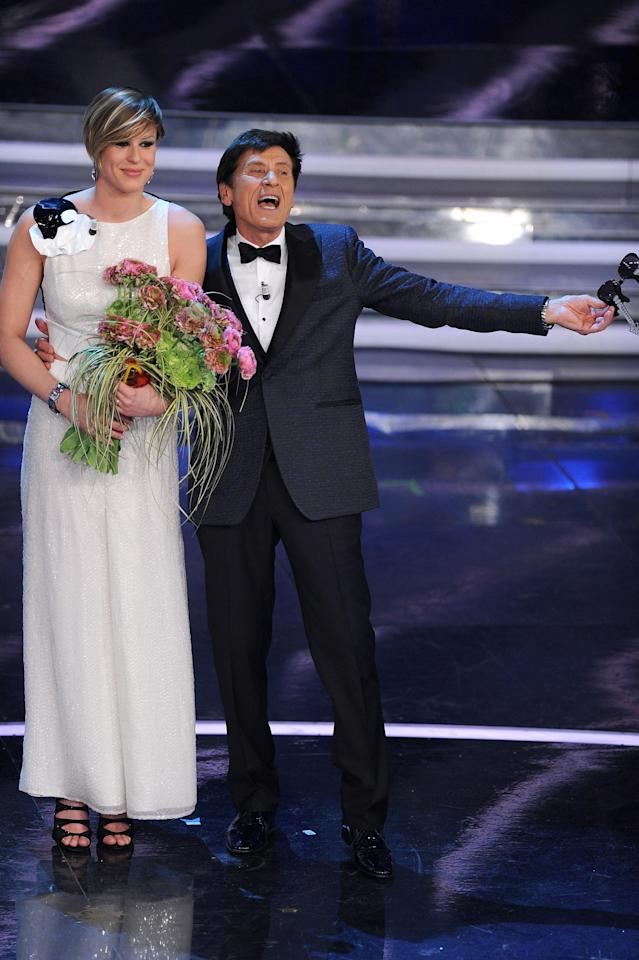 SAN REMO, ITALY - FEBRUARY 16: Federica Pellegrini and Gianni Morandi attend the third day of the 62th Sanremo Song Festival at the Ariston Theatre on February 16, 2012 in San Remo, Italy. (Photo by Venturelli/Getty Images)