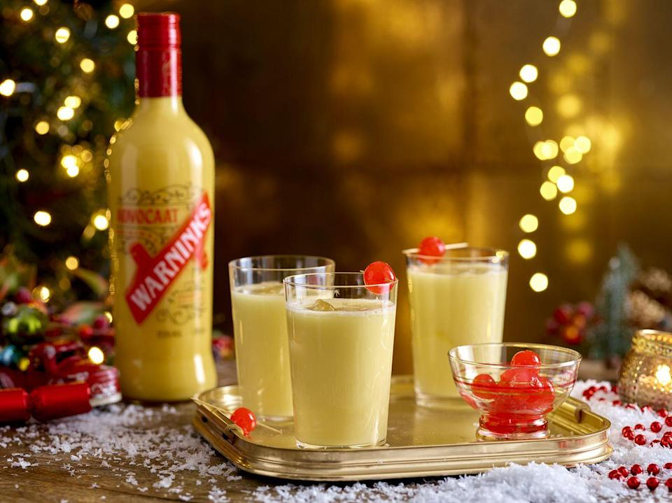 "<p>A Snowball is a classic Christmas cocktail and easy to make.</p><p><strong>Recipe: <a href=""https://www.goodhousekeeping.com/uk/christmas/christmas-drinks/a29948392/snowball-drink/"" rel=""nofollow noopener"" target=""_blank"" data-ylk=""slk:Snowball"" class=""link rapid-noclick-resp"">Snowball</a></strong></p>"