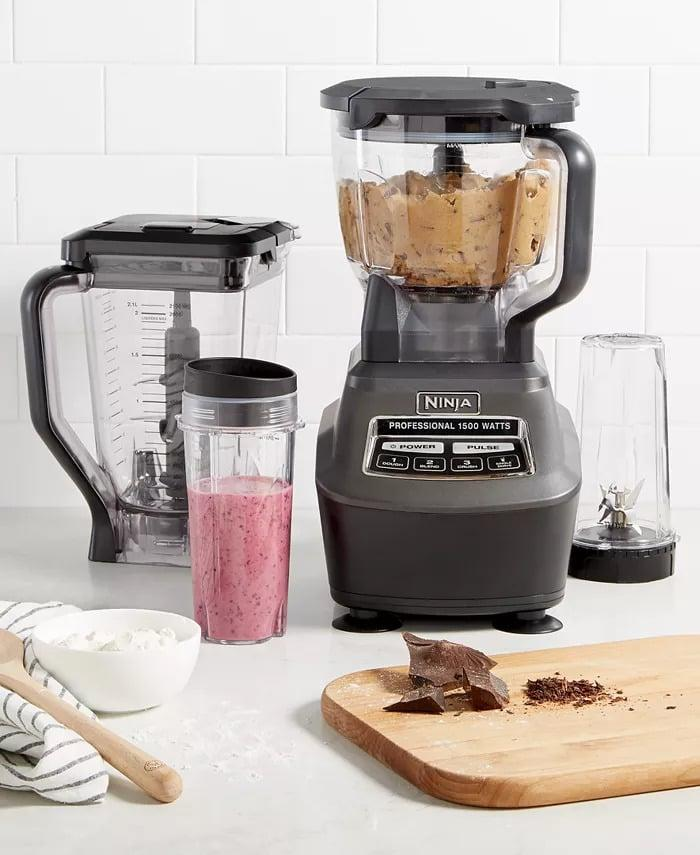 <p>The <span>Ninja BL770 Blender &amp; Food Processor, Mega Kitchen System</span> ($250) is the handy kitchen tool that is versatile. The Total Crushing Pitcher pulverizes ice to snow in seconds for creamy frozen drinks and smoothies. The Food Processor Bowl provides perfect, even chopping and makes up to two pounds of dough in 30 seconds. The Nutri Ninja cups with To-Go lids are perfect for creating personalized juices and smoothies to take on the go.</p>