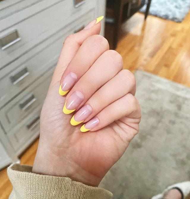 """<p>Add some instant sunshine to your French mani with<a href=""""https://www.goodhousekeeping.com/beauty/nails/g31748188/cute-pastel-yellow-nail-colors/"""" rel=""""nofollow noopener"""" target=""""_blank"""" data-ylk=""""slk:yellow tips"""" class=""""link rapid-noclick-resp""""> yellow tips</a> — sure to brighten anyone's day!</p><p><a class=""""link rapid-noclick-resp"""" href=""""https://www.amazon.com/dp/B082BJYYSZ?tag=syn-yahoo-20&ascsubtag=%5Bartid%7C10055.g.1267%5Bsrc%7Cyahoo-us"""" rel=""""nofollow noopener"""" target=""""_blank"""" data-ylk=""""slk:SHOP YELLOW POLISH"""">SHOP YELLOW POLISH</a></p><p><a href=""""https://www.instagram.com/p/CAyrz49sGRk/&hidecaption=true"""" rel=""""nofollow noopener"""" target=""""_blank"""" data-ylk=""""slk:See the original post on Instagram"""" class=""""link rapid-noclick-resp"""">See the original post on Instagram</a></p>"""