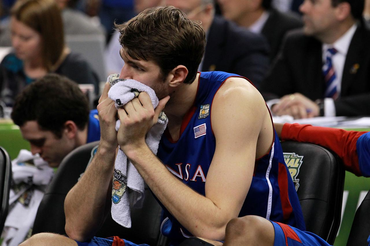Jeff Withey #5 of the Kansas Jayhawks sits on the bench during the National Championship Game of the 2012 NCAA Division I Men's Basketball Tournament at the Mercedes-Benz Superdome on April 2, 2012 in New Orleans, Louisiana. (Photo by Ronald Martinez/Getty Images)
